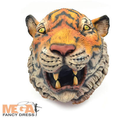 Realistic Tiger Mask Adults Fancy Dress Zoo Animal Mens Ladies Costume Accessory](Realistic Tiger Costume)