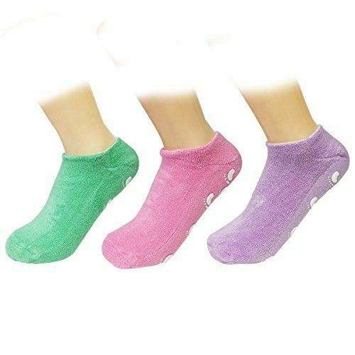 Wrapables Women Ankle Length Non-Skid Gripper Socks, Lavender, Hot Pink, Mint