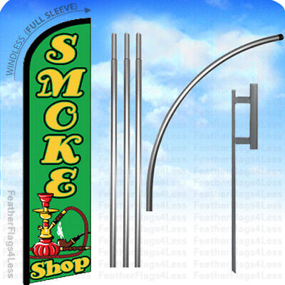 Smoke Shop - Windless Swooper Flag 15 Kit Feather Banner Sign - Gf