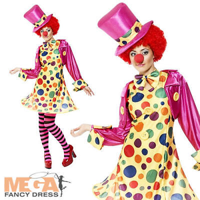Womens Clown Outfit (Polka Clown Ladies Circus Fancy Dress Womens Fun Carnival Adults Costume Outfit)