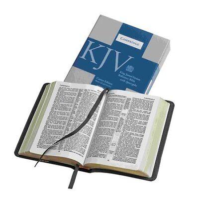 Kjv Bible  Cameo Reference Edition With Apocrypha  Black Calfsplit Leather