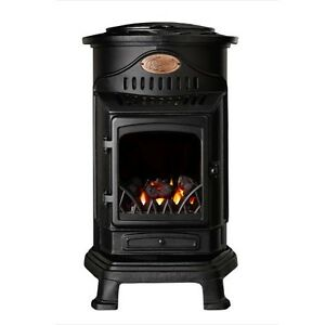 Provence real flame effect calor gas mobile portable heater matt black