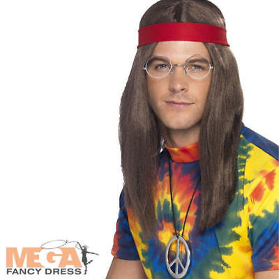 Hippie Kostüme Kit (70s Hippy Man Wig + Glasses Kit Fancy Dress Mens 1960s Hippie Costume 60s Set)