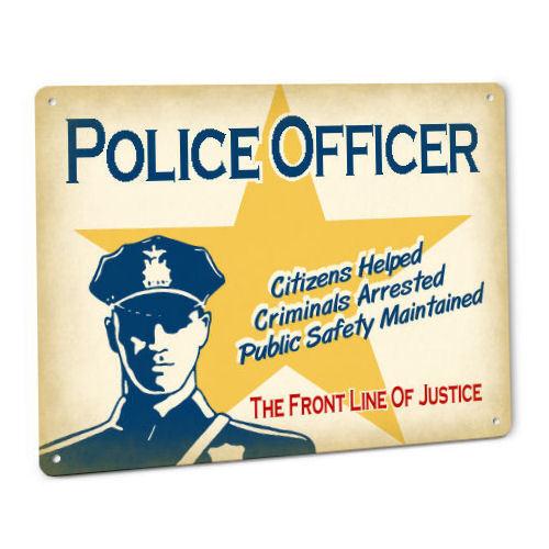Police SIGN Law Enforcement Officer Cop in Hat Badge Uniform Gun Vintage male
