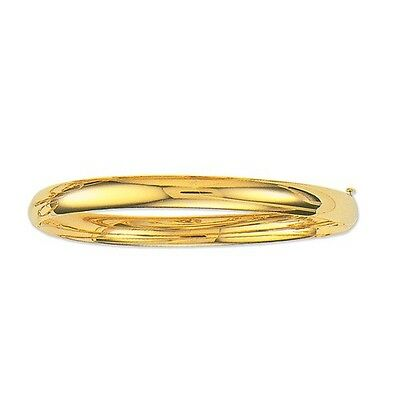 "14k Yellow Gold Shiny Bangle Hinged Bracelet  5mm, 3/16 "", 4.8 grams, 7 Inch"