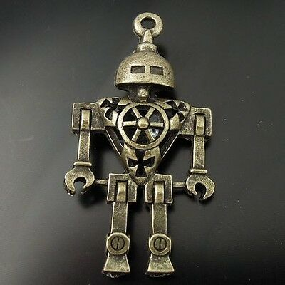 6Pcs Vintage Bronze Alloy Robot Pendant Charms Jewelry Finding 46 25 8Mm 07010