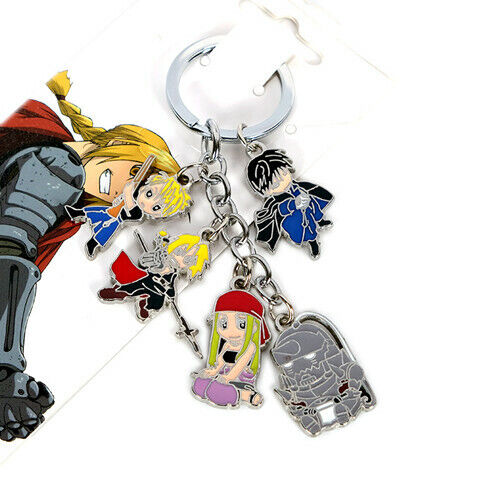 5pcs/set Anime Fullmetal Alchemist Pendant Keychain Cosplay Bag Ornament Keyring