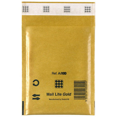 Mail Lite Gold Mailing Padded Postal Bags A/000 110MM X 160MM-Envelopes - Bx 100