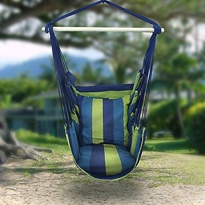 Deluxe Hanging Rope Chair Porch Swing Yard Garden Patio Hammock Cotton Outdoor