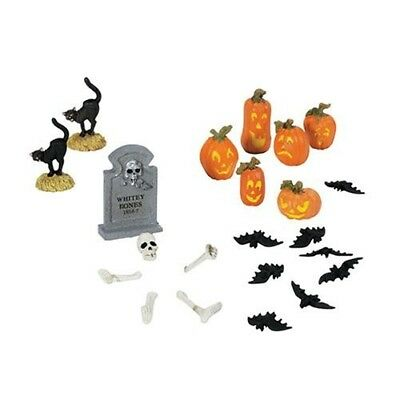 Department 56 Halloween Pumpkin Black Cat Graveyard Skeleton Bats Accessories](Cat Accessories Halloween)