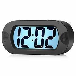 Easy to Set Large Digital LCD Travel Alarm Clock with Snooze Black