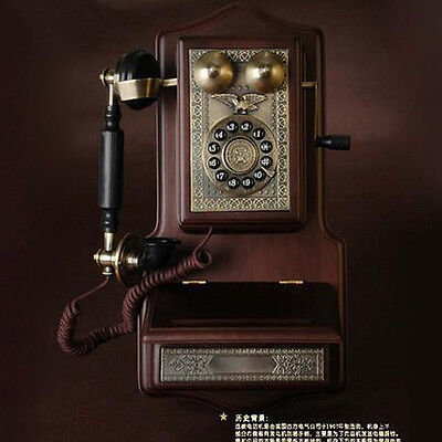 1907 wood metal wall hanging retro Antique phone Vintage corded telephone F070