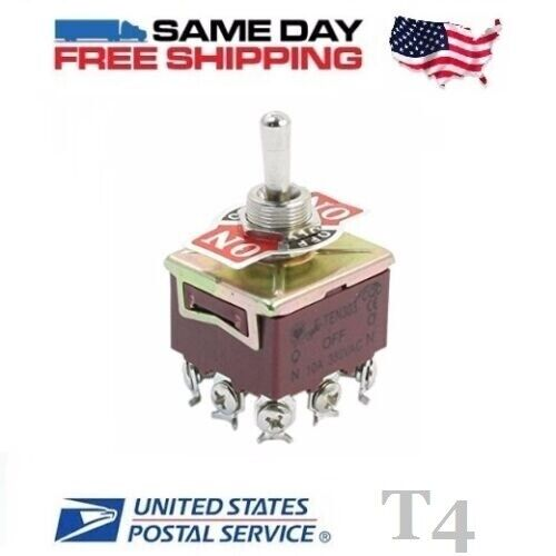 TPDT ~ Triple 3 Pole Double Throw 3PDT 9-Pin (ON-OFF-ON) 15a Toggle Switch