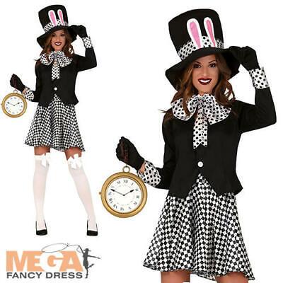 Crazy Ladies Costumes (Crazy Hatter Ladies Fancy Dress Wonderland Fairy Tale Halloween Adults Costume)