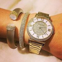New Michael Kors Catlin Mother of Pearl Dial Gold-plated Ladies