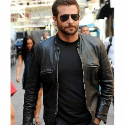 Mens Burnt Bradley Cooper Adam Jones Motorcycle Biker Leather Jacket   Bnwt