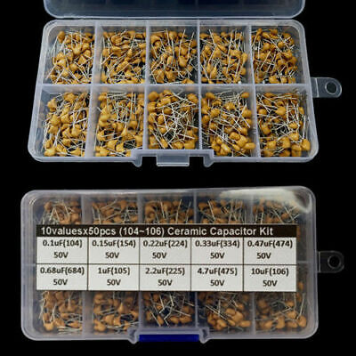 Multlayer Ceramic Capacitor Assorted Kit Box 0.1uf10uf 104106 10values X50