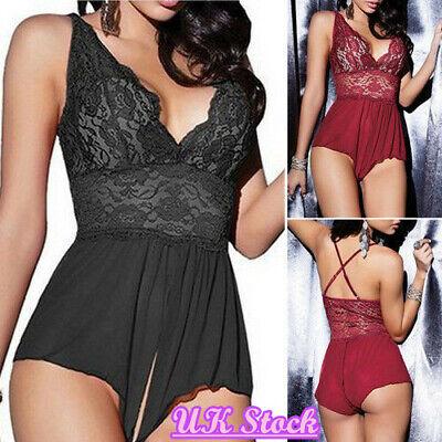 Sexy open crotch lingerie nightwear sleepwear one piece plus size UK Stock