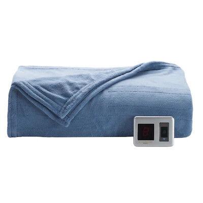 Biddeford Plush Heated Electric Blanket, Blue, 62'' x 84'' - Twin - MSRP $99