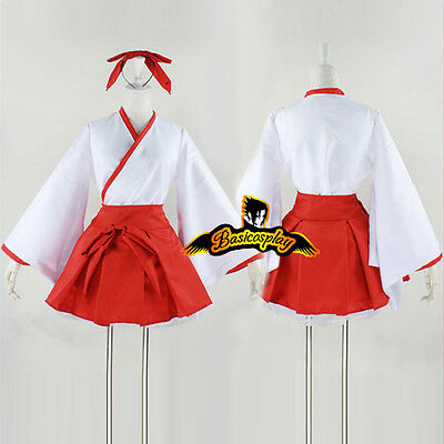 Kikyou Inuyasha Red Mixed White Dress Lady Anime Cosplay Halloween Costume Gift