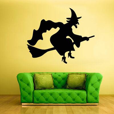 Wall Vinyl Sticker Bedroom Decal Cartoon Halloween Funny Witch Hag (Z1919) - Funny Witch Halloween Cartoons