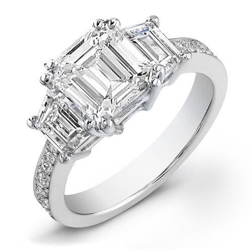 2.56 Ct Emerald Cut Diamond 18K White Gold Engagement Ring H,VS2 GIA