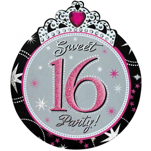Die Cut Pink Girl SWEET 16 BIRTHDAY PARTY INVITATIONS & Envelopes 8 Pack Invites
