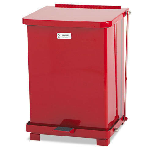 Rubbermaid Commercial ST7EPLRED Defenders 4 gal Square Step Can - RD New