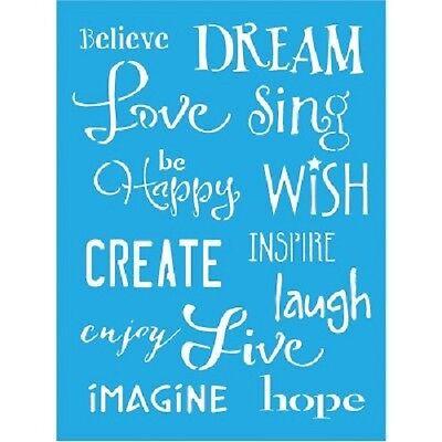 "DecoArt Americana Inspiration Stencil 6""x8"" love dream create craft sentiments"