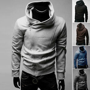 Mens-Casual-Stylish-Slim-Fit-Oblique-Front-Zip-Up-Hoodie-Top-Sweater-Jacket-Coat