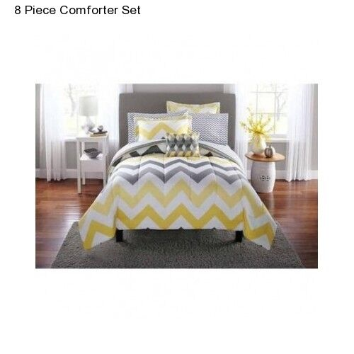 New Yellow Grey Full Size Comforter Set Bedding Bedspread Wi
