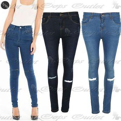 Donna Ginocchia Strappato Ladies Jeans Regular Lunghezza Alla Caviglia