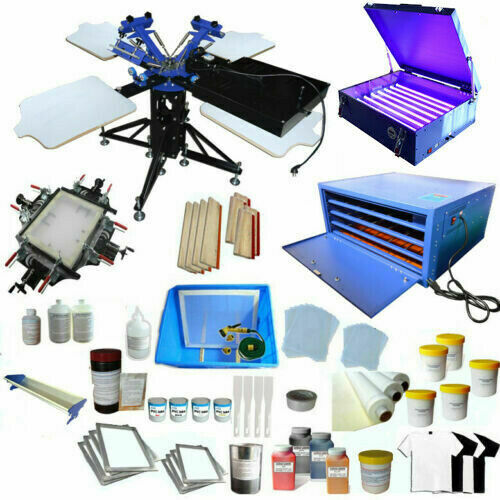 US Stock 3 Color 4 Station Screen Printing Kit Ink Stretcher Dryer Exposure Unit