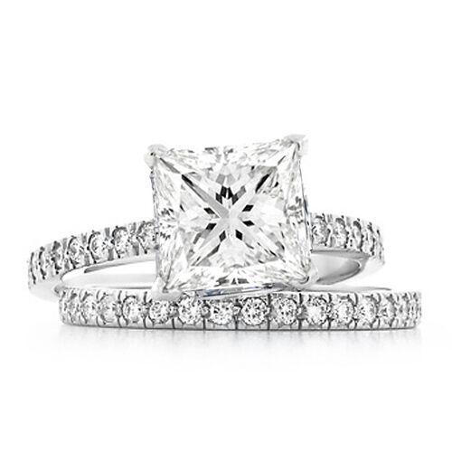 2.28 Ct Princess Cut & Round Diamond Engagement Ring Set GIA G,VS2 Platinum