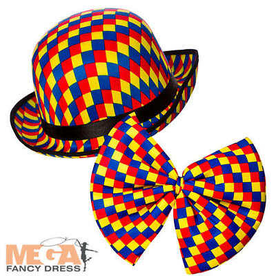 Clown Hat & Bow Tie Adults Fancy Dress Circus Mens Ladies Costume Accessories