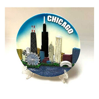 """Chicago Souvenir Plate w/ easel & hanging hook - Colorful - 6"""" - New - Resin"""