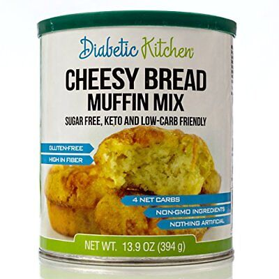 Diabetic Kitchen Cheesy Bread Muffin Mix Low Carb Keto Friendly Sugar Free  (Low Carb Muffin Mix)