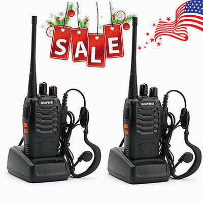 2 Walkie Talkie UHF 400-470MHZ 2-Way Radio 16CH 5W BF-888S Long Range&Earphones