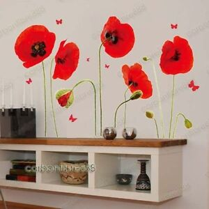 Red Poppy Flowers Butterflies Wall Stickers Home Decor Living Room Decoration
