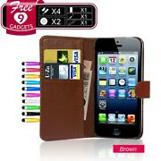 iPhone 5 Brown Leather Flip Case