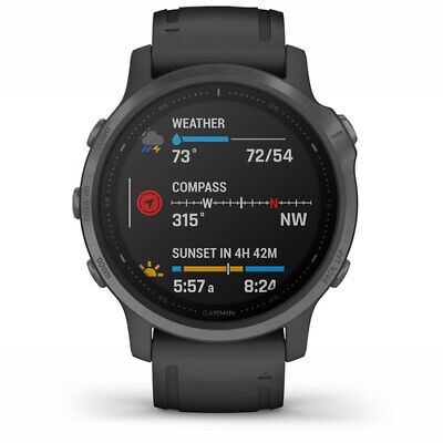 NEW Garmin 010-02159-24 Fenix 6S Pro Multisport GPS Black Rubber Strap Watch
