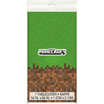 MINECRAFT PLASTIC TABLE COVER ~ Birthday Party Supplies Creeper Decoration Cloth