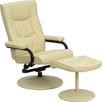 Recliner Chair With Ottoman For Living Room Cream Leather Sw