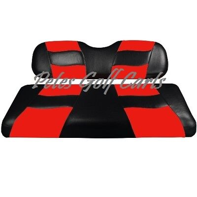 Golf Cart Custom Front Seat Covers BLACK/RED Club Car EZGO Yamaha