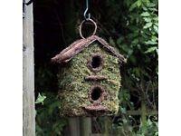 Bush Wood Two Storey Wild Bird House Garden Nesting Box Rustic Wooden Bark Small Birds