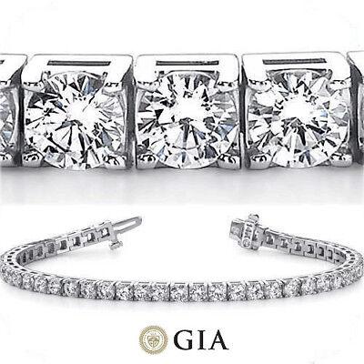 13.74 ct Round Diamond Tennis Bracelet 18k white Gold 39 x 0.35 ct GIA E-F VS