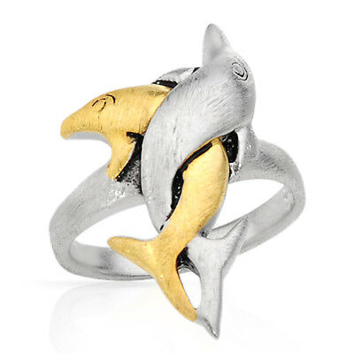 Dolphins Gold Plated Ring (Lovely Dolphins New Ring in 14K/925 Gold plated Silver  )