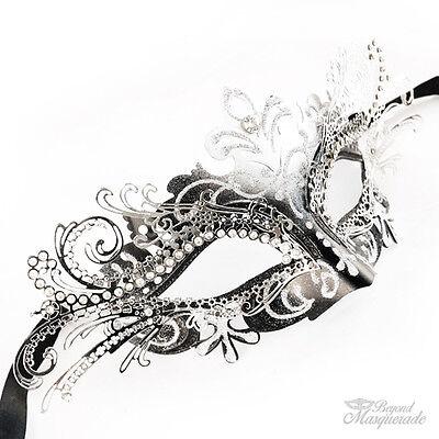 3d Laser Cut Mardi Gras Halbschuhe Maskenball-Maske für Damen [Silber/Schwarz]