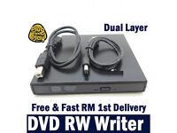 USB LAPTOP PC NETBOOK External CD RW DVD±RW (±R DL) Dual Layer Drive Writer Burner Player