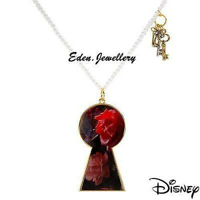 - Disney Couture TOM BINNS Alice in Wonderland Keys Pearl Talking Flower Necklace